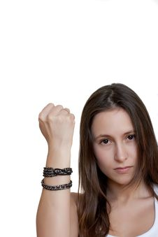 Free Female Shakes Fist At Someone Royalty Free Stock Photos - 14401498