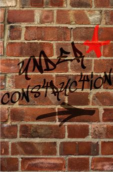 Free Under Construction Graffiti Royalty Free Stock Photography - 14401767