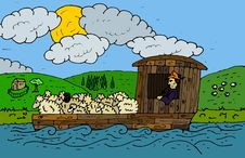Free Flatboat With Livestock Stock Photography - 14401772