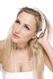 Free Pretty Model With White Headphone Royalty Free Stock Photo - 14403405