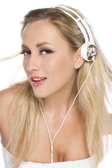 Free Pretty Model With White Headphone Royalty Free Stock Image - 14403636