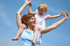 Happy Mother With Her Little Daughter Stock Images