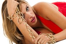 Woman Holding Golden Chain Royalty Free Stock Photo
