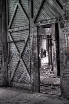 Free Abandoned Warehouse Doorway Royalty Free Stock Image - 14404436