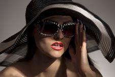 Free Model In Striped Hat And Sunglasse Stock Photos - 14404963