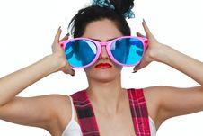 Free Girl Wearing Large Pink Eyeglasses Royalty Free Stock Images - 14404979