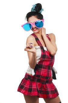 Free Girl Wearing Large Pink Eyeglasses Royalty Free Stock Photography - 14404997