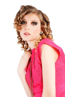 Free Beautiful Alluring Girl In Pink Blouse Stock Photography - 14405282