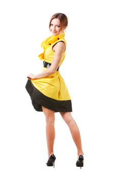 Free Young Pretty Girl In Yellow Dress Royalty Free Stock Photography - 14405287