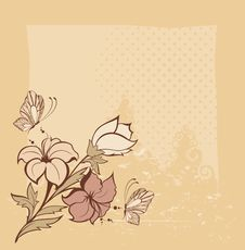 Background With Flowers And Butterfly Stock Image