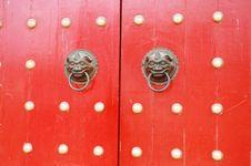 Free Red Door Handle Royalty Free Stock Photos - 14407518