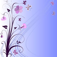 Decorative Blue Floral Frame Stock Photo