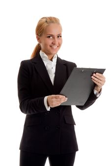 Free Businesswoman With Folder Royalty Free Stock Image - 14407816