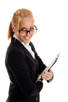 Businesswoman With Folder In Hands Stock Photo