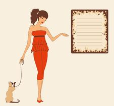 Pin-up Girl With Cat Royalty Free Stock Photo