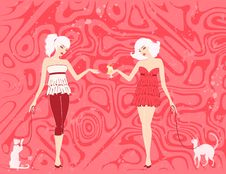 Free Pin-up Girls With Cats Royalty Free Stock Images - 14408169