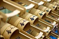 Japanese Cemetery Buckets Stock Photo