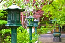 Lanterns In A Shinto Temple Royalty Free Stock Image