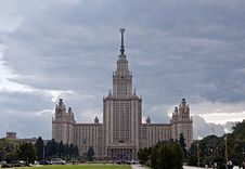 Main Building Of Moscow State University, Moscow, Royalty Free Stock Photo
