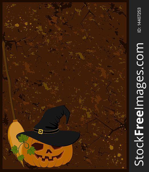Face of pumpkin in hat