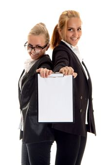 Free Two Businesswoman With Folder Royalty Free Stock Photo - 14410235