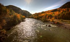 Free Autumn Colors Along Tuya River Royalty Free Stock Photography - 14410737