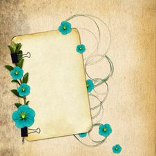 Free Paper With Flowers On Old Grunge Background Stock Photography - 14411492