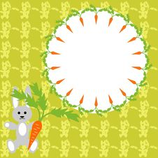Frame With Hare And Carrots Stock Image
