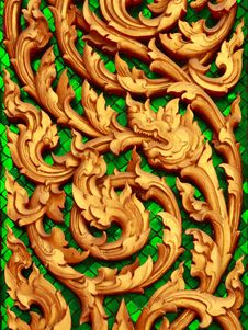 Free Traditional Thai Style Wood Carving. Stock Photos - 14411893