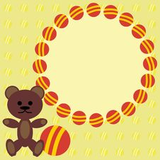Free Children Frame With Teddy Bear Stock Photography - 14411902