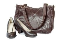 Free Brown Shoes And Bag On The White Royalty Free Stock Photos - 14411978