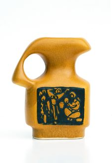 Israeli Ceramic Jug In Retro Style On White Stock Photo