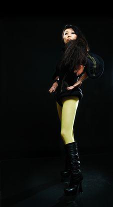 Posing Brunette Asian Model Royalty Free Stock Images