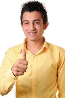 Free Young Businessman Showing Thumbs Up Royalty Free Stock Images - 14415289