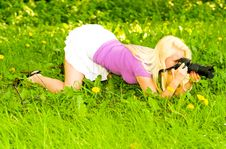 Free Blonde Girl With Camera Stock Photos - 14415463