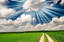 Free Unusually Beams Above Spring Field. Stock Photo - 14415730