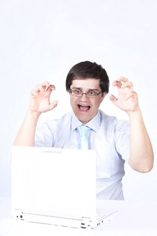 Free Young Boss With White Laptop. Stock Image - 14416001