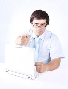 Free Young Boss With White Laptop. Stock Photos - 14416023