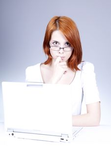 Free Red-haired Girl With White Notebook. Royalty Free Stock Photography - 14416087