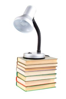 Table Lamp On The Books Stock Photo