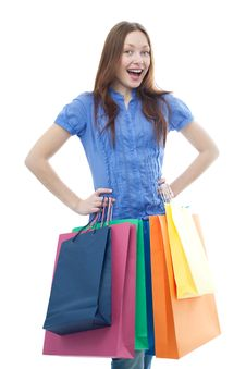 Free Beauty Shopping Woman With Clored Bags Royalty Free Stock Images - 14416229