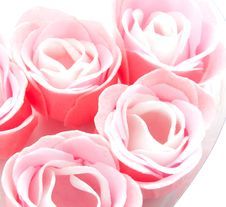 Buds Of Artificial Pink Roses Stock Photos