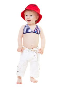 Free Baby Girl In A Swimsuit And Red Hat Royalty Free Stock Images - 14417309