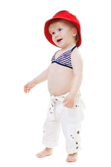 Free Baby Girl In A Swimsuit And Red Hat Stock Photography - 14417312