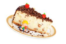 Cheese Cake And Angel Of Marzipan Stock Image