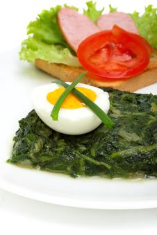 Free Sauteed Spinach, Egg And Sandwich For Breakfast Royalty Free Stock Images - 14418379