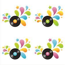Set Of 4 Vinyl Records Royalty Free Stock Image