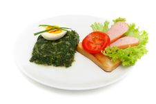 Free Sauteed Spinach, Egg And Sandwich For Breakfast Stock Image - 14418601