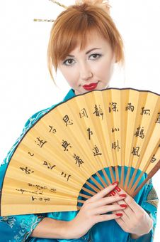 Free Girl With A Fan Stock Photography - 14419052