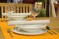 Free Dinner Set On Orange Doily Royalty Free Stock Photos - 14426218
